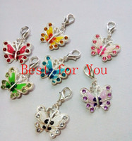 Wholesale Mixed Silver Plated Enamel Crystal Butterfly Dangle Charm Bracelet Lobster Clasp Jewelry DIY Jewelry Findings x21mm