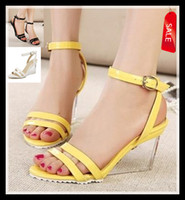 Wholesale 2014 clear high heel yellow sandals crystal wedge sandals ankle strappy shoes colors white wedding shoes sandal ePacket Free Shippin