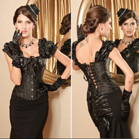 Cheap Hot Sale New Sexy Black Full Steel Bones Lace Up Corset Top Bustier with G-string drop shipping
