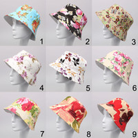 Wholesale 27 Colors Summer Women Fashion Floral Print Canvas Travel Hat Outdoor Fishing Hat Bucket Hat Foldable Basin Caps Beach Sun Hat
