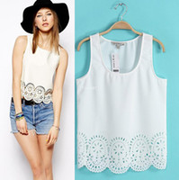Wholesale European summer Laser carved hollow vest sleeveless T shirt Slim Tops