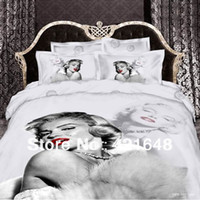 Woven Cotton Twill Reactive print personalized 3d 100% cotton queen king size bedding set piece marilyn monroe
