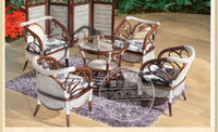 Wholesale Jiale America wicker chair chairs coffee table combination sets of Indonesian rattan furniture table and four chairs combination lounge cha