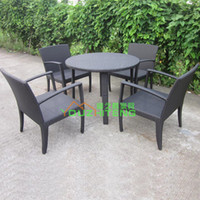Wholesale Villa Outdoor Furniture PE Rattan Chair Set imitation living room patio terrace outdoor teahouse Club Hotel