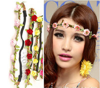 Headbands Various colors Leather & Fabric Free shipping !Bride Bohemian Flower Headband Festival Wedding Floral Garland Hair Band Headwear Hair Accessories for Women