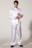 Wholesale Tai chi chinese style top long sleeve tang suit set chinese traditional clothes Kung fu shirt pants White color M0010