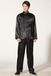camiseta de manga larga chi juego de la espiga del estilo chino del envío libre de Tai establece chino ropa tradicional Wushu Kung fu camisa + pantalones de artes marciales Conjunto