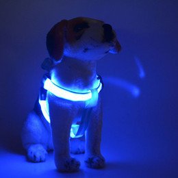 Wholesale 6 Colors Battery Operated LED Flashing Dog Harness Collar Belt Pet Cat Dog Tether Safety Light Collars Pet supplies By DHL