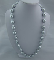 Wholesale Natural AAA13 MM Baroque AKOYA silver gray PEARL necalace18inch14k
