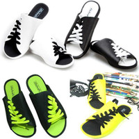 Wholesale Fashion Man s Woman s Faux Leather Rubber Lacing Anti Slip Slippers Colors F61 salebags