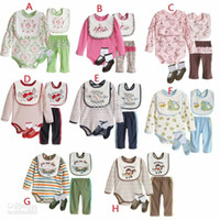Wholesale baby clothing suit jogging pants and long sleeved bodysuit and baby bibs and footwear color sets