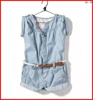 Jeans blue jeans - 2014 Girls Jean Shorts Baby girls Summer Denim short sleeve jumpsuit wash blue Jeans Cool pants kids girl clothing T Melee