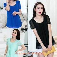 Wholesale Cheap Summer New Women Short Sleeve Chiffon Shirt S XXXXL Color