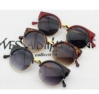 Wholesale New High Quality Fashion Unisex Retro Style Round Gold Metal Frame Sunglasses