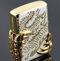 Wholesale Reprint windproof lighter Carving Black ice gold plated dragon wing silver liner with box cotton