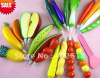 Cheap Hot sale 10pcs lot, Ballpoint pen, vegetable & fruit style, novelty pen, size13x2.5cm, gift pen,mixed color, free Shipping