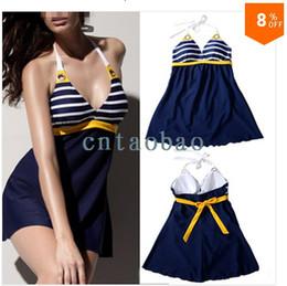 2014 Brand New Plus size Navy blue Padded Sailor Stripe Swimwear one-piece swimsuit Halter bikinis set bikini dress cover XXL
