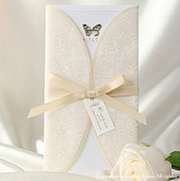 Wholesale Champagne Wedding Invitations With Satin Bow Fashion Pure Nature Paper Folded Free Printable Business Meeting Party Birthday Card