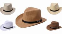 Wholesale Fashion Cowboy Straw Hat Men Beach Caps Wide Brim Hats With Belt Ornament DUO