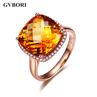 Gemstone Women Ring Fine GVBORI 18K Rose Gold&Natural Diamond Citrine Yellow Gemstone Ring Fine Diamond Jewelry