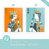 More Panel Digital printing Abstract Light Art Drawings Poker King Queen Set Modern Minimalist Picture Abstract Vintage Poster Prints Custom DIY Gift Wall Decor Canvas Paintings