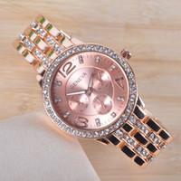 Wholesale New Geneva Watch Full Steel Watches Women dress Rhinestone Analog wristwatches men Casual watch Ladies Unisex Quartz watches w1630