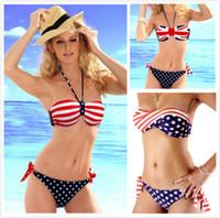 Wholesale 2014 Sexy Women Summer STARS And STRIPES USA Flag Bikini Swimsuit PADDED TWISTED BANDEAU Tube AMERICAN Swimwear Styles S M L