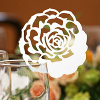 Wholesale 100pcs Laser Cut Rose Flower Wine Glass Place Cards Table Name Number Cards Wedding Party Decoration