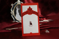 Invitations & Invitation Buckles Folded Red Wholesale -2014 Red New fashion top quality wedding invitations come envelopes sealed card