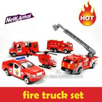 Metal HJ05T Diecast 5pcs lot firefighter series toy vehicle cars fire trucks model diecast metal car classic toys for children kids