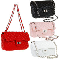 Wholesale New Fashion Women s Shoulder Bag Quilting Chain Cross Korean Leather Crossbody Handbag Cheap Designer Black White Red Pink H9166