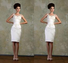 2019 Vintage Short Wedding Dresses Summer Scoop Applique Short Bridal Dress Beaded Sheath Custom Made Ivory Beach Bride Gowns