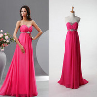 Wholesale 2014 Crystal Beaded Sweetheart Neck Fuchsia Brush Train Chiffon Empire Wedding Evening Prom Formal Dresses Beach Party Gowns Under Cheap