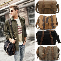 Wholesale New Vintage Casual Unisex Men Women Shoulder Bag Canvas Leather Fashion Men Crossbody Messenger Satchel Laptop School Bag H9976