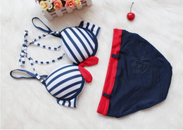 Wholesale Sexy small navy day girl thin cup insert thickened small chest gathered in Japan and South Korea cute underwear bra set