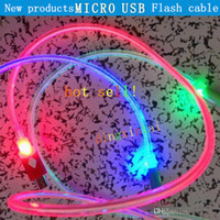For Samsung   Wholesale - 1M 3FT Visible LED Lighting Up round MICRO USB FLAT Charger cable Sync Data Line Cord for samsung galaxy S4 S3 Android phone hot