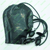 Wholesale Natural Latex Clothing Rubber Press Inflatable Head Hood Black Sexy Full Face Latex Mask