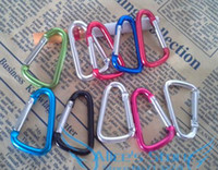 Cheap Assorted 50pcs lot 40mm MINI Carabiner Durable Climbing Hook Aluminum Camping Accessory Fit Outdoor sport Quick Connect