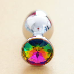 Wholesale Metal Mini Anal Toys Butt Plug Booty Beads colorful Crystal Jewelry Sex Toys