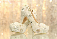 Wholesale Charming Write Ivory Luxury Crystal Bridal Shoes Diamond Nail Bead Wedding Shoes online Bridal Accessories Cheap Online