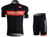 Wholesale New short sleeves bid cycling jersey cervelo black color cycling team jersey fashion men s cycling jersey bib shorts