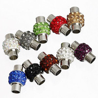 Wholesale 20pcs Silver Tone Assorted Color Crystal Rhinestone Barrel Magnetic Clasps with Inner hole mm For Leather Cords Bracelet