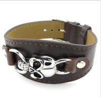 Wholesale 2014 New Fashion Leather Bracelet Titanium Steel Skull Punk Style Male And Female Models In Black Brown Orange Size Inches Factory Direct