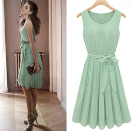 2014New Womens light green sleeveless Pleated cocktail party dress size: S M L XL