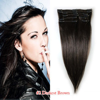 Wholesale 100 High Quality Hair extensions human remy hair brazilian head clips in on inch color B