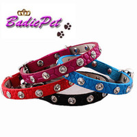 Wholesale Hot Sell Colors Single Row Crystal Cat Collars Faux Snake Leather Cat Pet Collars With Elastic Safety Belt Cat Supplies Cat Accessory