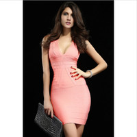 V_Neck pink bandage dress - new sexy women dress Pink Ribbed V neck Party Bandage Dress LC28007