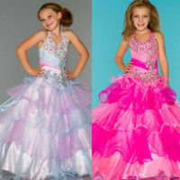 Wholesale 2014 New Arrival Beaded Crystals Ruffles Little Kids Halter Neckline Sugar Little Girl Pageant Dress Flower Girl Dresses BY03