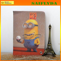 Wholesale Despicable Me MinionsCartoon Leather fold Stand leather cover Case for iPad Mini for ipad air ipad