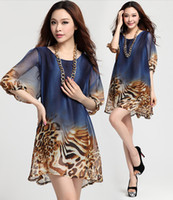 plus size club dresses - New summer plus size loose long sleeve chiffon bottoming sexy Leopard print club dress XL XXL XXXL